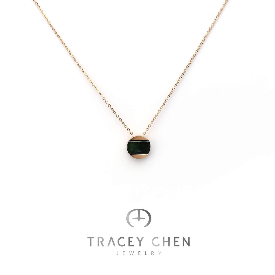 TRACEY CHEN | GEOMETRY NECKLACE OF EMPIRE BLACK BURMA JADEITE (ROSEGOLD) | G074