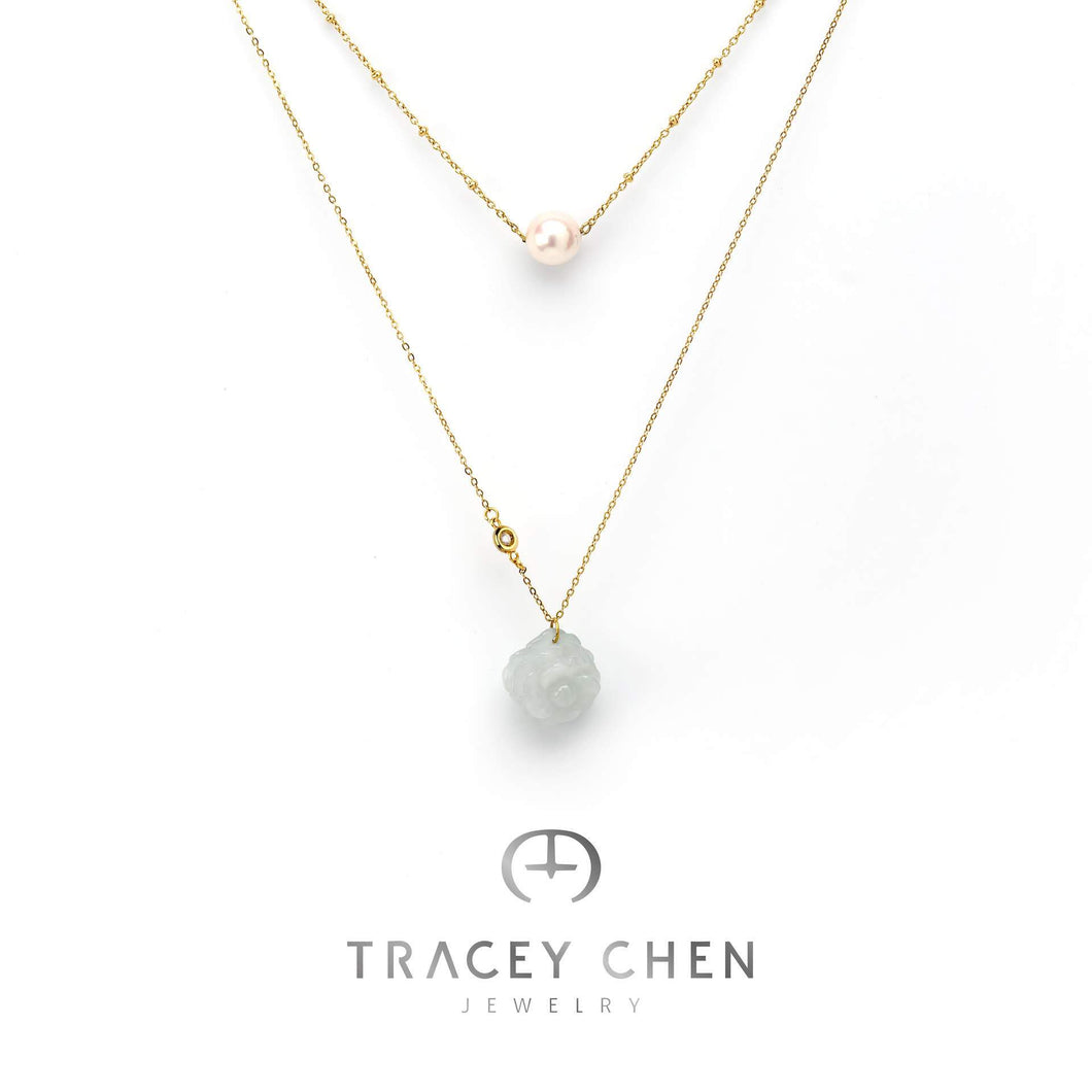 TRACEY CHEN | ROSE & DIAMOND NATURAL DIAMOND DOUBLE NECKLACES OF AKOYA CULTURED PEARL WITH BURMA JADEITE ROSE CUTTING SHAPE|R003