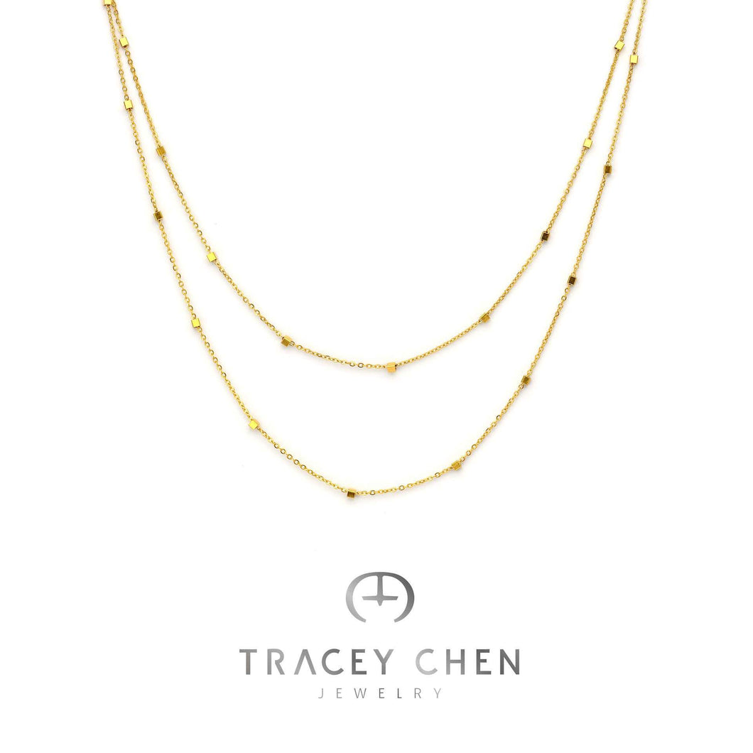 TRACEY CHEN | SHINGING SQUARE LONG NECKLACE (ROSEGOLD) | S023