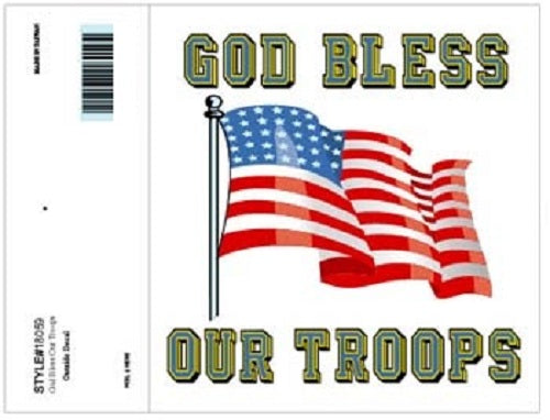 Patriotic - Decal - God Bless Our Troops (w/Flag)