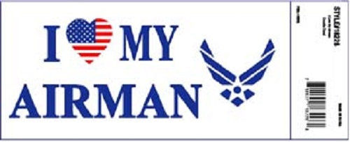 Air Force - Decal - I Love My Airman (Patriotic Heart) w/HAP