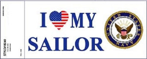 Navy - Decal - I Love My Sailor (Patriotic Heart)