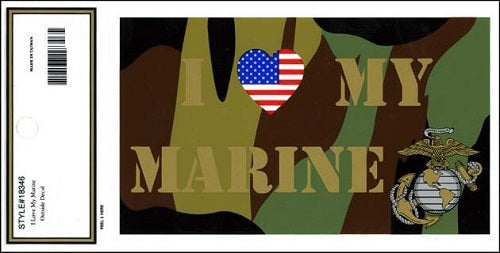 Marines - Decal - I Love My Marine (Patriotic Heart)