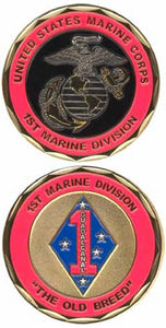 "Marines Challenge Coin - 1st Marine Division ""The Old Breed"""