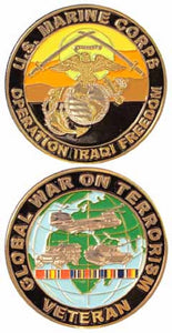 Marines Challenge Coin - Operation Iraqi Freedom War on Terror Veteran