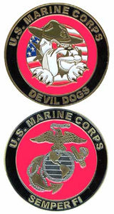 Marines Challenge Coin - Devil Dog w/Flag
