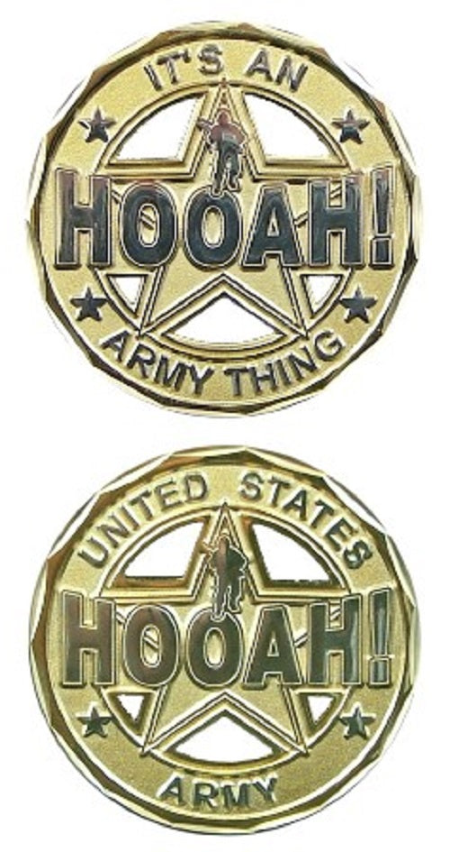 Army Challenge Coin - Hooah! Cut-Out