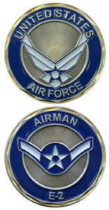 Air Force Challenge Coin - USAF E-2 Airman