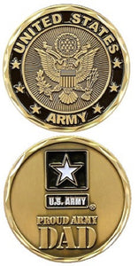 Army Challenge Coin - Proud Army Dad