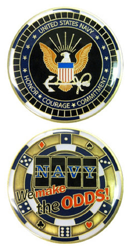 Navy Challenge Coin - Casino - We Make the Odds