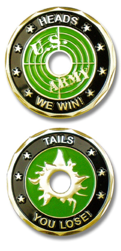Army Challenge Coin - Heads/Tails Bullet Hole Cut-Out