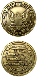 Navy Challenge Coin - Navy Values (Gold)