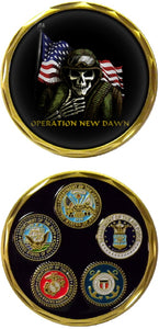 War & Op Challenge Coin - Operation New Dawn - Skull Soldier
