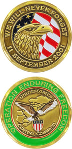 War & Op Challenge Coin - Operation Enduring Freedom 9/11 Never Forget