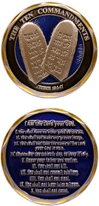 Challenge Coin - 10 Commandments (Blue/silver)