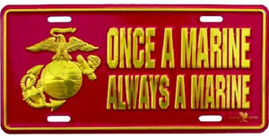 Marines - License Plate - Once a Marine