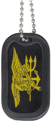NAVY DOG TAG - Navy SEAL Trident w/keychain hoop