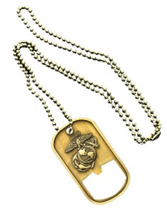 Marines Dog Tag - Bottle Opener - Marine Corps Emblem (Engraveable)
