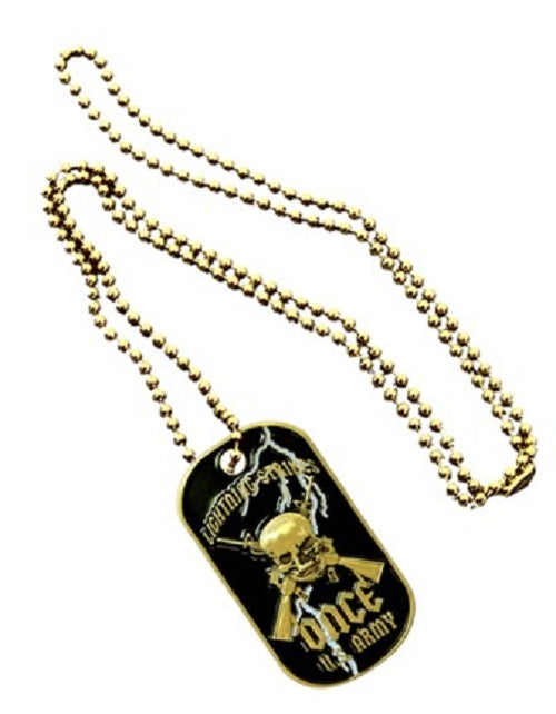 Army Dog Tag - Skull w/Lightning Strikes Once (Engraveable)