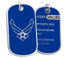 AIR FORCE DOG TAG - USAF Values w/keychain hoop