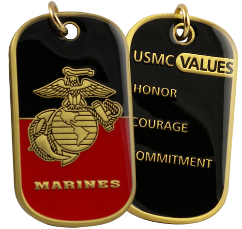 MARINES DOG TAG - USMC Values w/keychain hoop