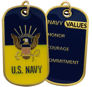 NAVY DOG TAG - Navy Values w/keychain hoop
