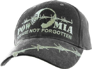 Embroidered Cap - POW MIA (Distressed Gray)
