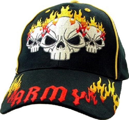 Army - Embroidered Cap - Skulls and Fire