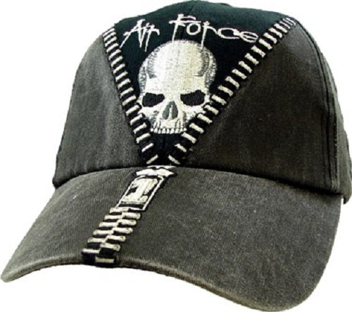 Air Force - Embroidered Cap - Air Force Skull w/Zipper