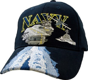 Navy - Embroidered Cap - Navy w/Aircraft Carrier