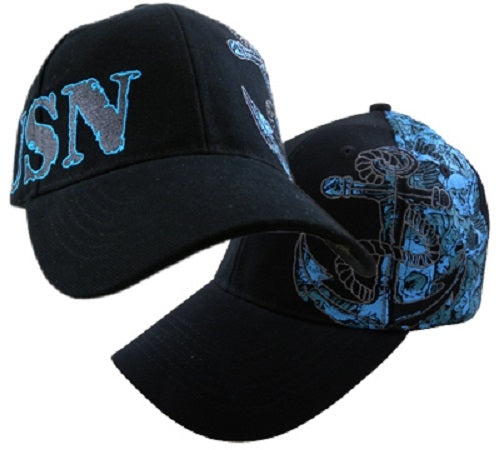Navy - Extreme Embroidered Cap - USN Anchor Skull Collage
