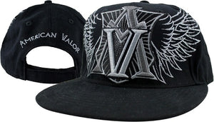 American Valor - Embroidered Cap (Black w/wings)