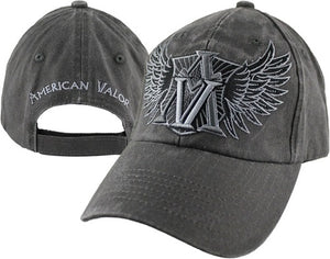 American Valor - Embroidered Cap (Washed Out w/Wings)