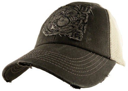 Marines - Embroidered Cap - USMC (Distressed/Mesh/Snap Closure)