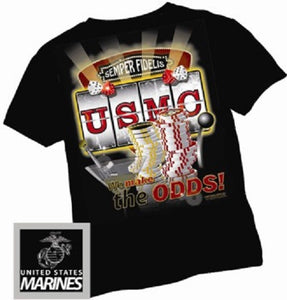 Marines - Short Sleeve T-Shirt - USMC We Make the Odds - Size L