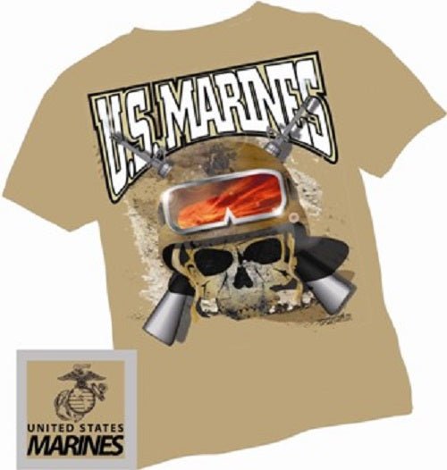 Marines - Short Sleeve T-Shirt - USMC Marines Skull - Size L