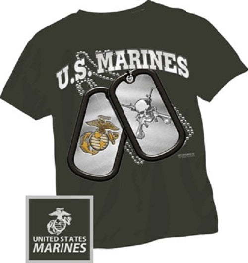 Marines - Short Sleeve T-Shirt - U.S. Marines Dog Tags - Size XL