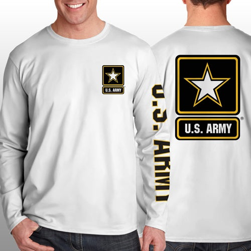 Army - Long Sleeve Cool-N-Dry Shirt - United States Army w/Star - Size L