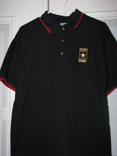 Army - Polo Shirt - U.S. Army Retired Emblem (Red Trim) - Size M