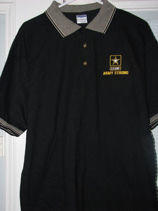 Army - Polo Shirt - Army Strong (Gray/White Trim) - Size L