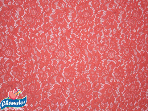 150cm FLORAL STRETCH LACE CORAL