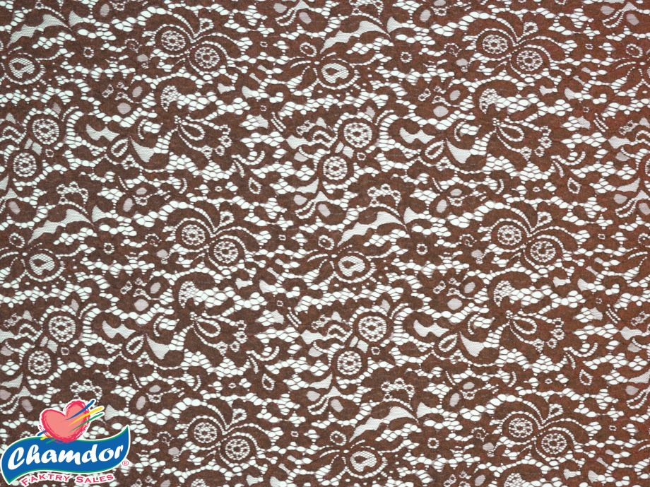 150cm FLORAL STRETCH LACE CHOCOLATE