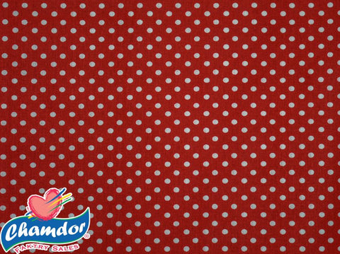 240cm DOTS COTTON CURTAINING RED