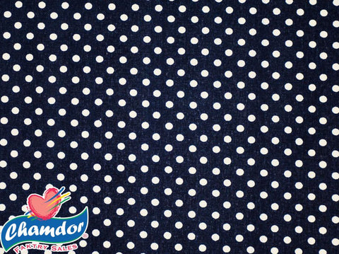 240cm DOTS COTTON CURTAINING NAVY BLUE
