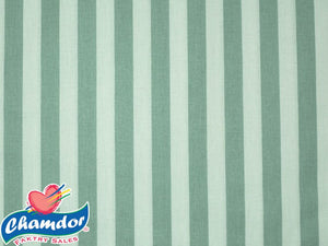 240cm STRIPES COTTON CURTAINING GREEN & WHITE