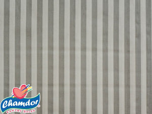 240cm STRIPES COTTON CURTAINING GREY & WHITE