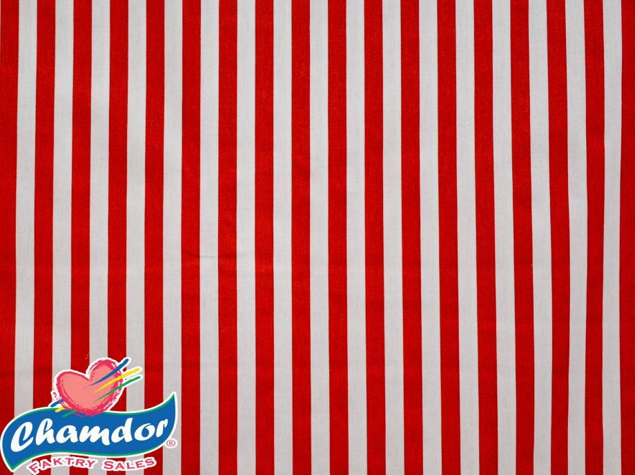 240cm STRIPES COTTON CURTAINING RED & WHITE