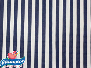 240cm STRIPES COTTON CURTAINING NAVY & WHITE