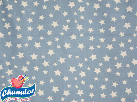 240cm WHITE STARS COTTON CURTAIN BLUE & WHITE