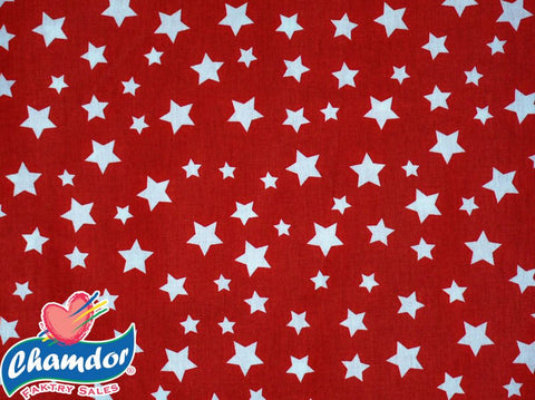 240cm WHITE STARS COTTON CURTAIN RED & WHITE